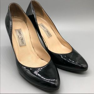 Jimmy Choo round toe black pantent leather pumps